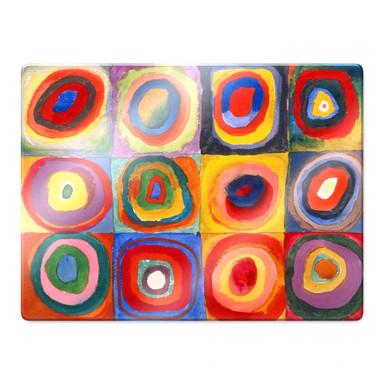 Glasbild Kandinsky - Farbstudie: Quadrate und konzentrische Ringe