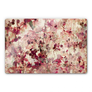 Glasbild Vintage Blütenmuster