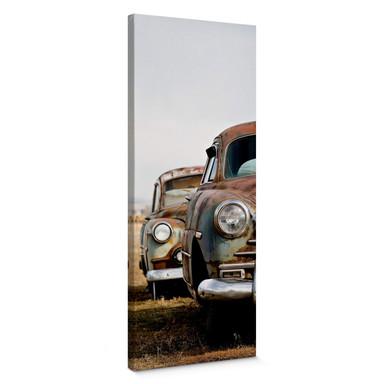 Leinwandbild Old Rusted Cars - Panorama
