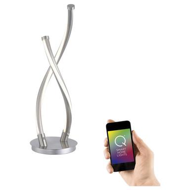 Q-Smart LED Tischleuchte Q-Malina in Silber tunable white inkl. Fernbedienung