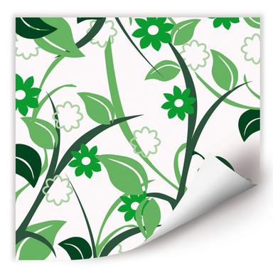 Wallprint Blumengarten grün