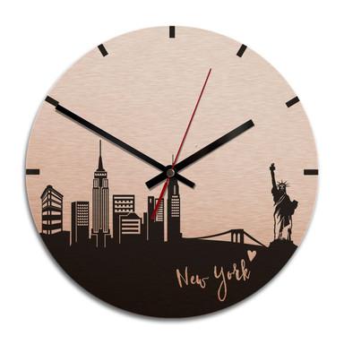 Wanduhr Alu-Dibond-Kupfereffekt - Skyline New York - Ø 28cm - Bild 1