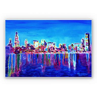 Hartschaumbild Bleichner - Chicago im Neonschimmer