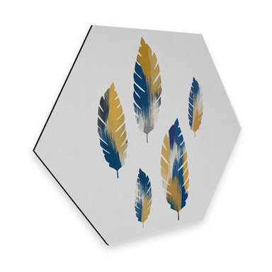 Hexagon - Alu-Dibond Orara Studio - Leaves Blue and Yellow