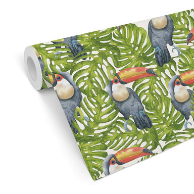 Mustertapete - Tukan im Dschungel