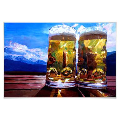 Poster Bleichner - Zwei Bier in den Bergen