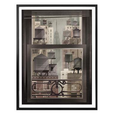 Poster Braun - NYC Watertowers