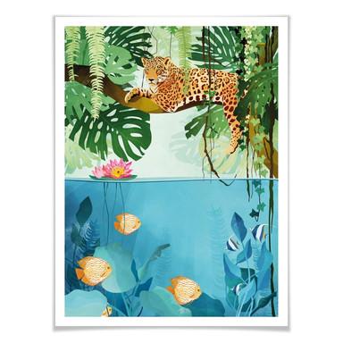 Poster Goed Blauw - Tiger im Dschungel
