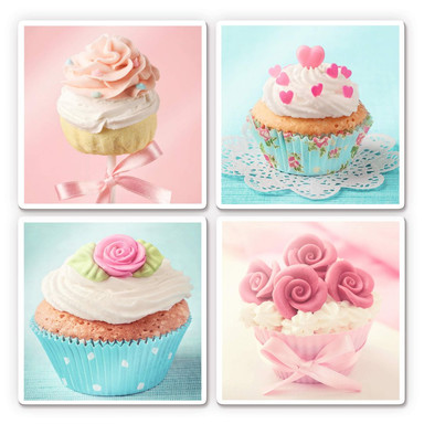 Glasbild Cupcakes Set (4-teilig)