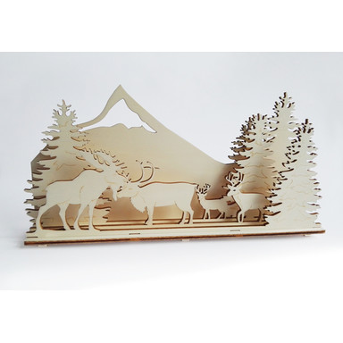 Holzkunst Weihnachtskrippe Waldtiere