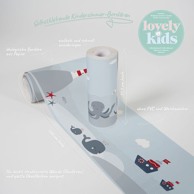 Lovely Kids selbstklebende Kinderzimmer Bordüre Lighthouse Family Leuchtturm am Meer