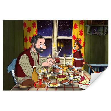 Wallprint Pettersson und Findus - Abendmahl bei Kerzenlicht