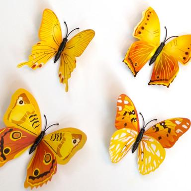 3D Wandtattoo Schmetterling Set 12-tlg - Gelb - Bild 1