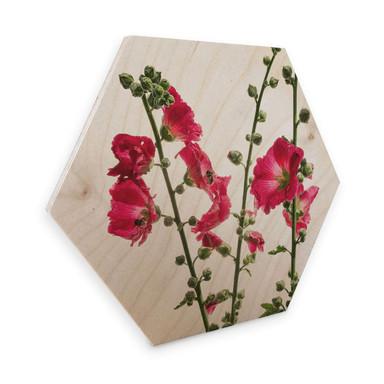 Hexagon - Holz Birke-Furnier Kadam - Flora Stockrose