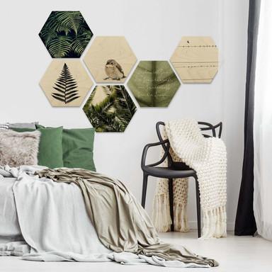 Hexagon - Holz Birke-Furnier - Natürliche Vielfalt (6-teilig) - Bild 1