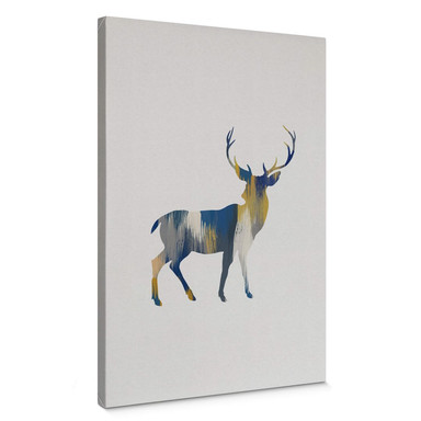 Leinwandbild Orara Studio - Deer Blue and Yellow