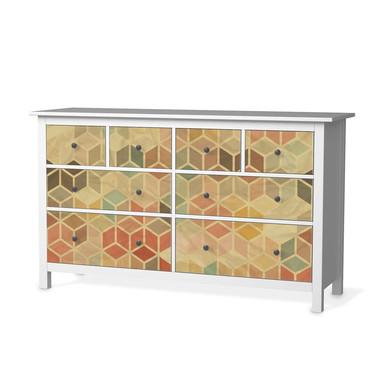 Möbelfolie IKEA Hemnes Kommode 8 Schubladen - 3D Retro