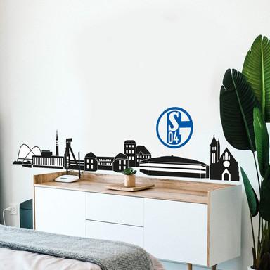 Wandtattoo Schalke 04 Skyline mit Logo farbig