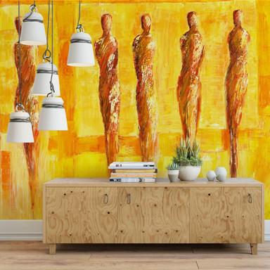 Fototapete Schüssler - Fünf Figuren in Gelb