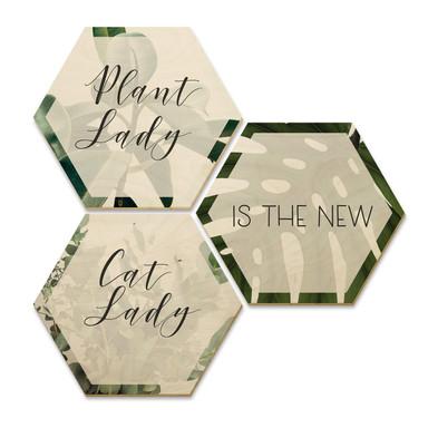 Hexagon - Holz Birke-Furnier - Plantlady is the new Catlady (3er Set)