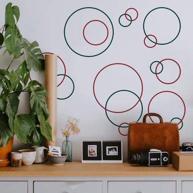Wandtattoo Retro Ringe (2-farbig)