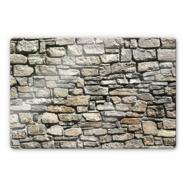 Glasbild Natursteinmauer