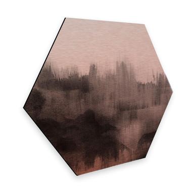 Hexagon - Alu-Dibond Kupfereffekt Nouveauprints - Watercolour Brush Strokes (schwarz)