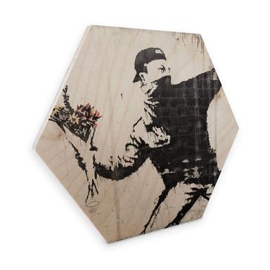 Hexagon - Holz Birke-Furnier Banksy - Der Blumenwerfer