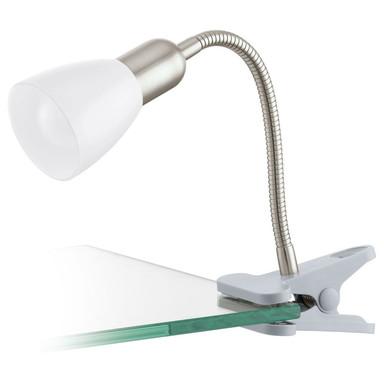 LED Klemmleuchte mit Flexarm, nickel-matt, weiss, LED inkl.