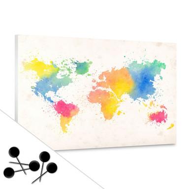 Pinnwand Weltkarte - Watercolour inkl. 5 Pinnadeln
