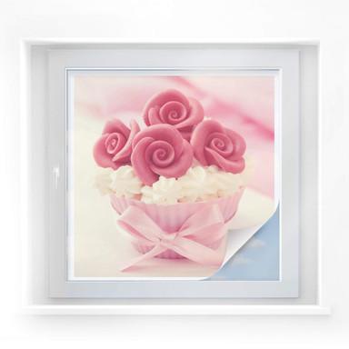 Sichtschutzfolie Roses on Cupcake - quadratisch