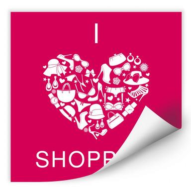 Wallprint I love Shopping - quadratisch