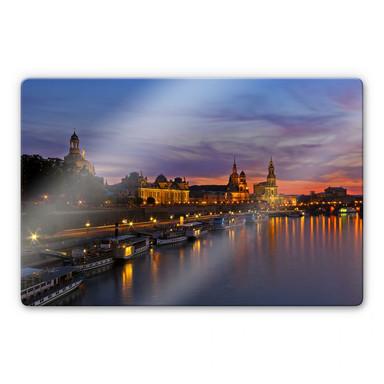 Glasbild Dresden im Nachtlicht