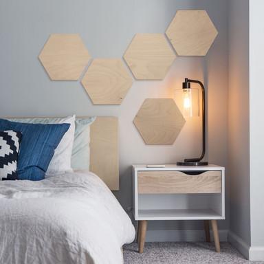 Hexagon - Holz Birke-Furnier (3er Set)