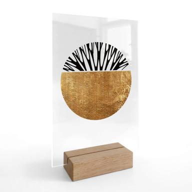 Tischaufsteller Kubistika - Baum des Lebens - Gold