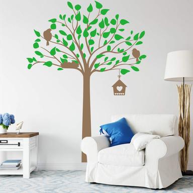Wandtattoo Hoher Baum mit Vögeln 2-farbig