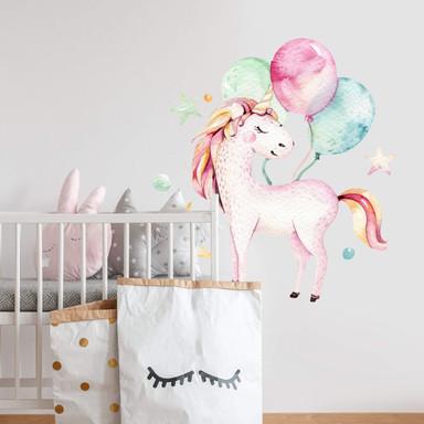 Wandtattoo Kvilis - Einhorn mit Luftballons
