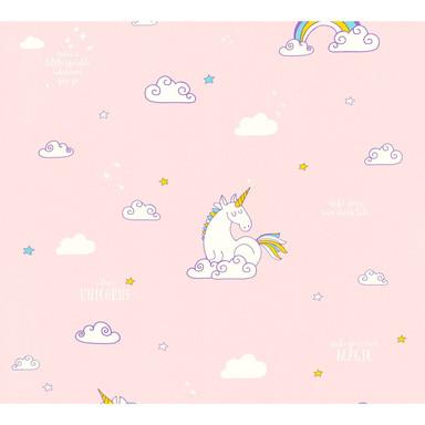 A.S. Création Papiertapete Boys & Girls 6 Tapete mit Einhörnern Unicorn blau, gelb, rosa