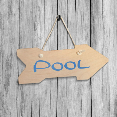 Holz-Wegweiser - Pool inkl. Sisalseil