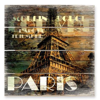 Holzbild Paris Szenerie