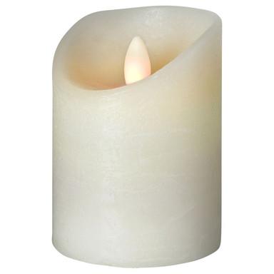 LED Kerze Shine Wachs gefrostet in Elfenbein 100x75x75mm
