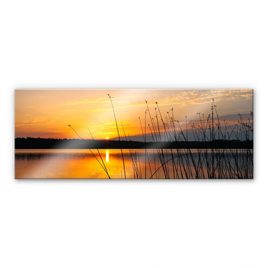 Acrylglasbild Sonnenuntergang am See - Panorama