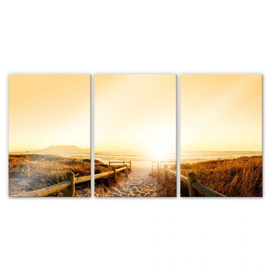 Acrylglasbild Sunset at the Beach (3-teilig)