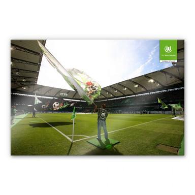 Acrylglasbild VfL Wolfsburg Flaggen