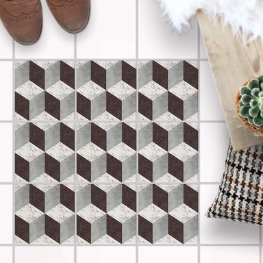 Fliesenaufkleber Boden - 3D Marmor Cubes