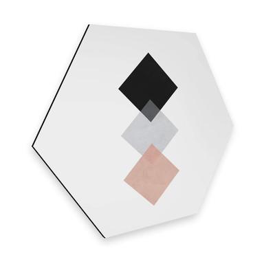 Hexagon - Alu-Dibond Nouveauprints - Squares Pink