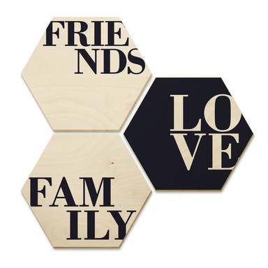 Hexagon - Holz Birke-Furnier - Love, Friends, Family (3er Set)