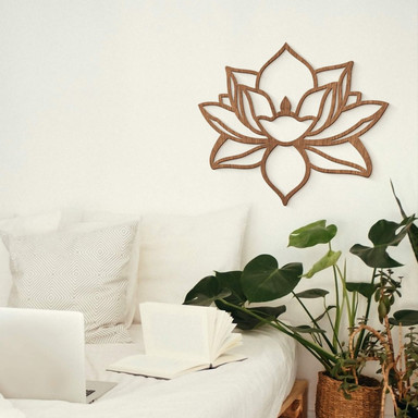 Holzdeko Mahagoni Lotusblume