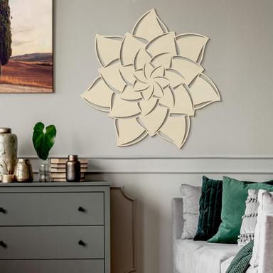 Holzkunst Pappel - Mandala Blume 02