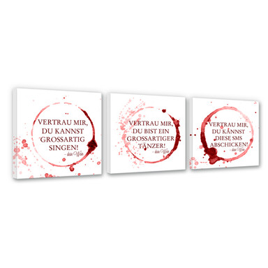 Leinwandbild Vertrau mir, dein Wein - quadratisch (3-teilig)